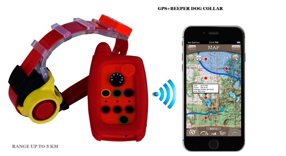 WATERPROOF DOG BEEPER COLLAR და GPS TRACKER COLLAR 2 IN 1 HUNTING DOG