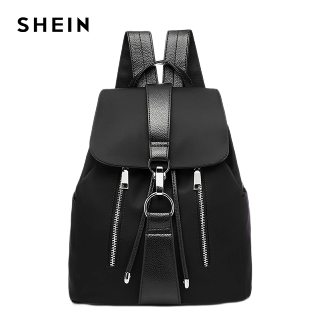 Black Highstreet Modern Lady Metal Ring PU Backpack Fashion Backpacks 4