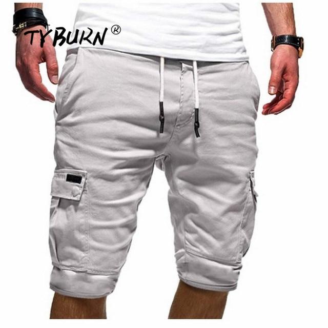 TYBURN Hot Men Slim Fitness Shorts Casual Work Uniform Half Pant Summer Jean Beach Cotton Shorts Baggy Trouser Short Pants