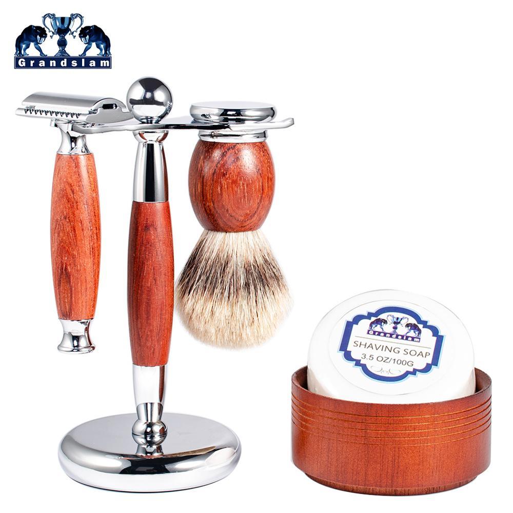 Grandslam palissandre lame de rasage rasoir de sécurité coffret cadeau meilleur blaireau cheveux rasage brosse Kit rasoir manuel socle pour rasoir Kits de support