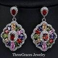 Mona Lisa CZ Creado Diamond Joyería Mulit Color Marquise Forma Ziconia Crystal Mujeres Cuelga Los Pendientes de Gota Para El Partido Grande ER254