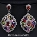 Mona Lisa CZ Created Diamond Jewelry Mulit Color Marquise Shape Ziconia Crystal Women Big Dangle Drop Earrings For Party ER254