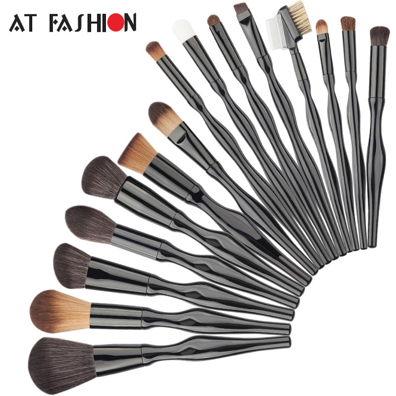 Professional 15 Pcs Makeup Brush Set Body Curve MakeupBrushes Facial Blush Foundation Blending Powder Cosmetics Brushes Kit New 2017 hot makeup brush set 10 pc makeup set kits brushes cosmetics brush tool professional beauty blush foundation blending