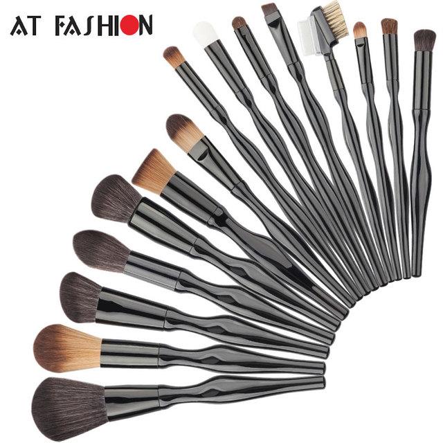 Professional 15 Pcs Makeup Brush Set Body Curve MakeupBrushes Facial Blush Foundation Blending Powder Cosmetics Brushes Kit New