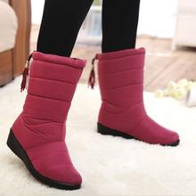 Buty kobieta 2019 buty damskie nowe buty śniegowe damskie buty zimowe ciepłe buty śnieżne buty zimowe tanie tanio HAJINK Flock Połowy łydki Pasuje prawda na wymiar weź swój normalny rozmiar Okrągły nosek Zima Slip-on Patchwork