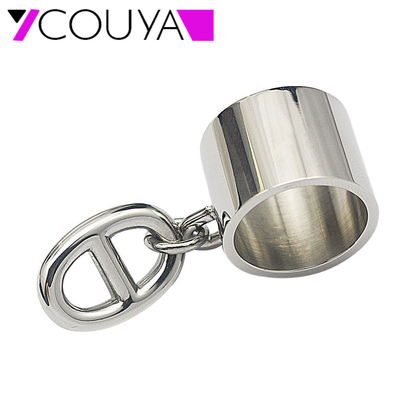 COUYA 2017 Women's Rings US Size 6-11 Stainless Steel Silver Punk Width Rings With oval-shaped Button Fashion Party Jewelry
