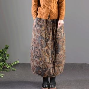 Image 4 - Mùa thu Mùa Đông Váy Retro Phụ Nữ Đàn Hồi Eo Váy Lỏng Lẻo In túi Dày Hơn Ấm Áp Phụ Nữ Pha Trộn Váy Giản Dị 2018