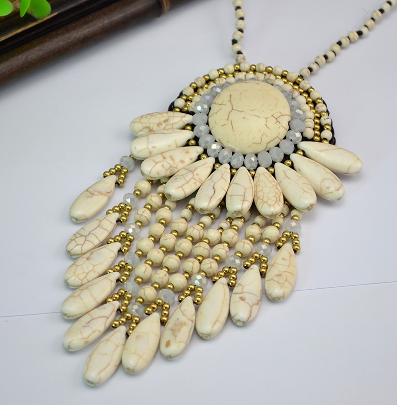 N-6046 Bohemia Beads Chain Handmade Boho Vintage Design Big Fan Shape Pendant Necklace Multilayer Turquoise Tassel Long Necklaces for Women, pendant necklace - idealway_img1.cdn.tradew.com_2