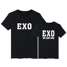 EXO Short Sleeve Tee Shirt Uomo Divertente Modo di Stile di Estate 4XL casuale T-Shirt In Cotone EXO SEHUN XIUMIN Kpop Nero Tshirt donne(China)