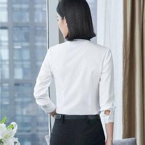 Image 4 - 春の新白シャツ女性ファッションフォーマルビジネスパッチワーク長袖スリムシフォンブラウスオフィス女性のプラスサイズは