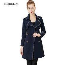 цена BURDULLY Women's 2019 New Knitted Turn-down Collar Double Breasted Long Classic Windbreaker Trench Coat Office Lady Fashion онлайн в 2017 году