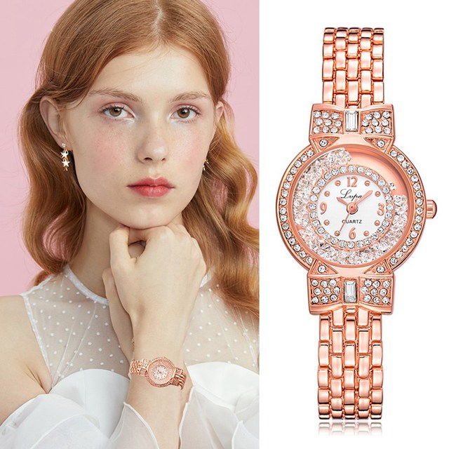 LVPAI Women Watches Ladies Fashion Luxury Bracelet Watch Rose Gold Rhinestone Qu