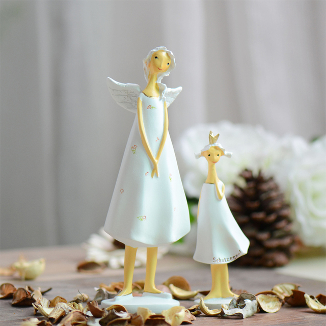 2pcs Set Europe Style Resin Angel Mother And Daughter Elf Figurines Home Decoration Creative Gifts