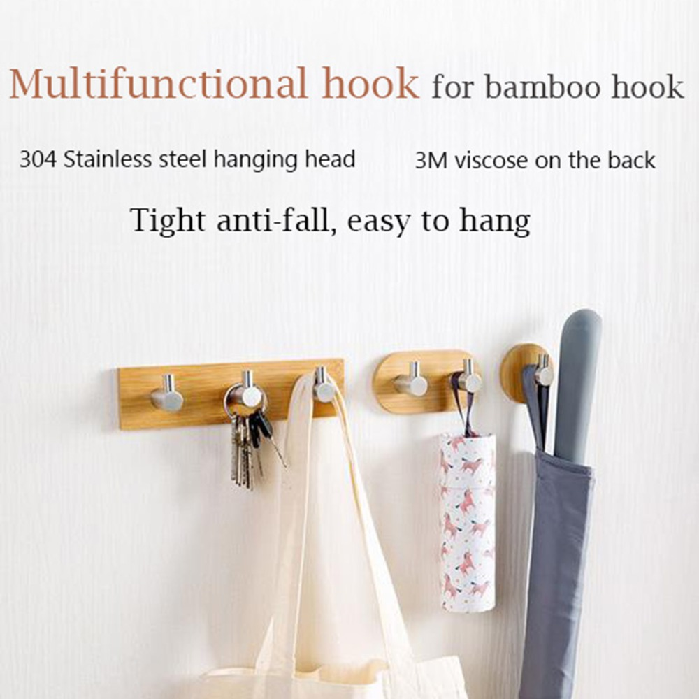 Adhesive Natural Bamboo Stainless Steel Hook Wall Clothes Bag ...