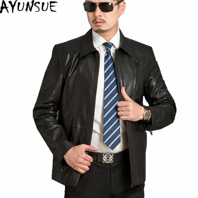 53dc5ca1b98 AYUNSUE Men s Spring Autumn Jacket Genuine Leather Jackets Mens Sheepskin  Coat Jaqueta Couro Black Leather Jacket Coats WXF141