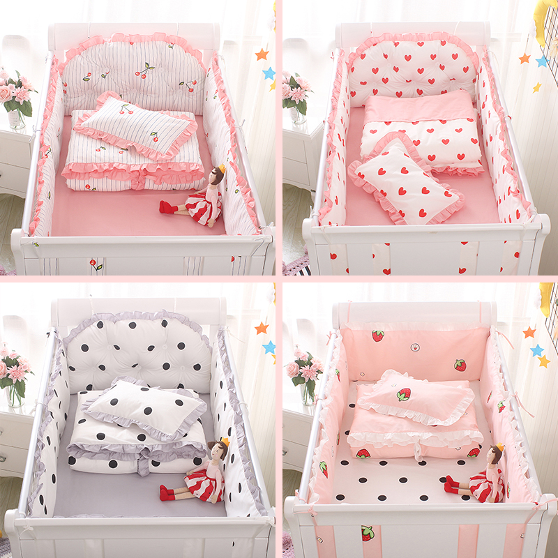 US $46.28 |5pcs/set Cotton Baby Crib Bumpers Baby Bedding Sets Bed Safety  Baby Bed Sheet Thickening Babies Bumper Strawberry cherry wave-in Bedding  ...