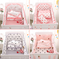 5pcs/set Cotton Baby Crib Bumpers Baby Bedding Sets Bed Safety Baby Bed Sheet Thickening Babies Bumper Strawberry cherry wave