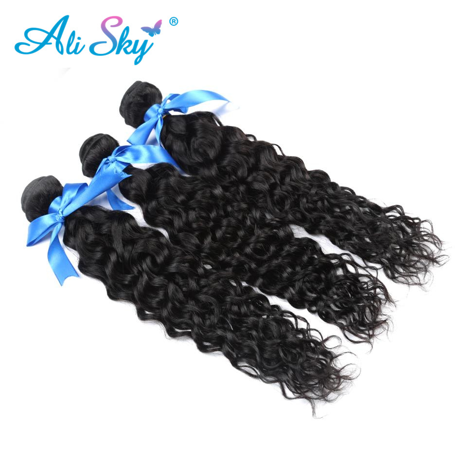 brazilian water wave non remy hair 1/3/4pcs freeshipping thick ends bundles no tangle ali sky can be dyed no shedding color 1b