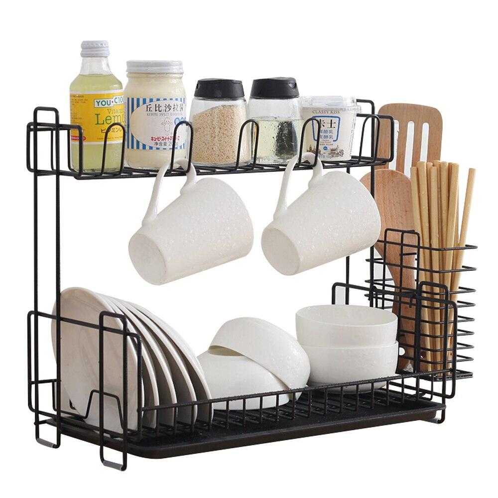 Supports de cuisine double couche fer forgé vaisselle drain étagère à épices rack baguettes cuillère stockage rack support de verre wx8081734
