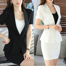 Slim Women Short Sleeve Skirt Suits Sets Formal Blazer Work Office Lady Business Outwear Tops Casual Career Black White Jacket