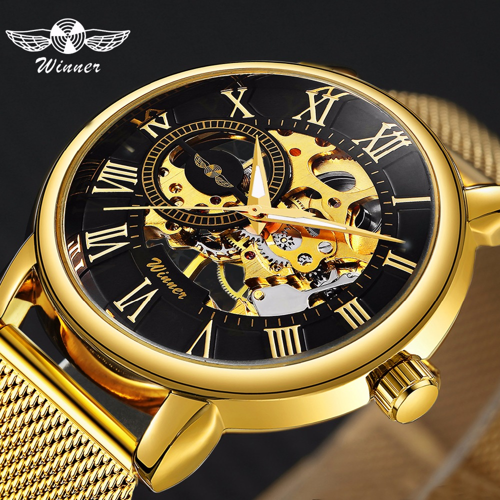 Classic Golden Skeleton Mechanical Stainless Steel Strap   Man Watch Vip  Wholesale