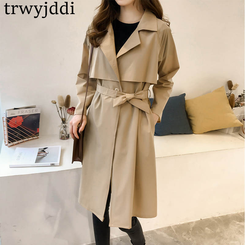 2019 Spring Autumn New Korean BF Windbreaker Coats Long section Plus Size Loose Women Long-sleeved   Trench   Coat N389