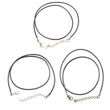 Cordons en cuir ciré noir pour collier, 20 pièces/lot, Dia 1.5mm, or/Bronze Antique/Rhodium, chaîne pendentif pour fermoir homard, bijoux à faire soi-même