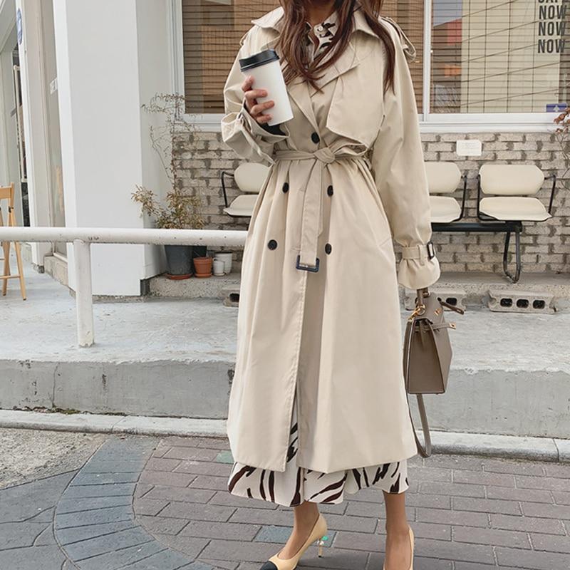 2020 новое осенне весеннее Женское пальто Корейская ветровка Женский Плюс размер двубортный женский длинный шикарный Тренч пальто|Тренч| | - AliExpress