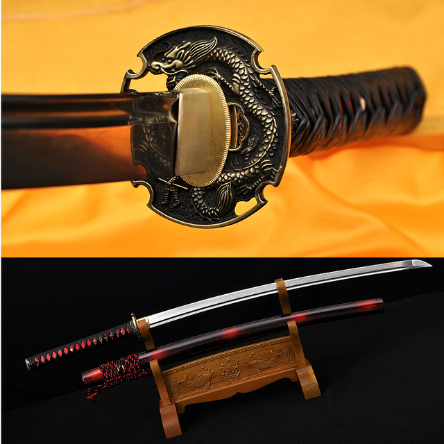 "Special Offer Japanese Samurai Handmade Katana Sword Real Spring 1095 Steel Full Tang Blade Dragon Tsuba  Katanas Sale Sharp41"""