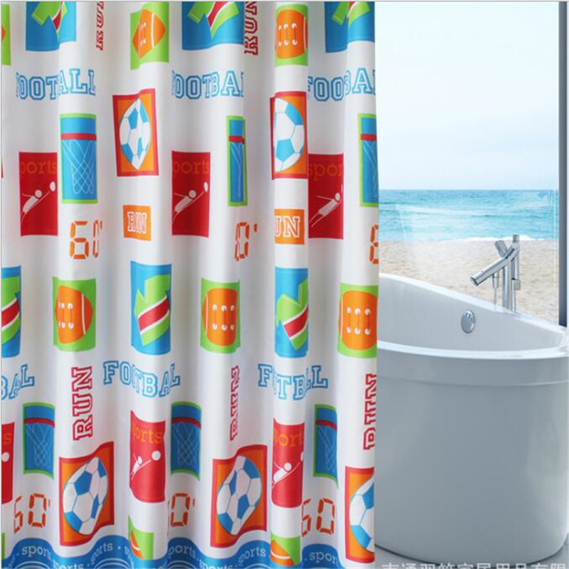 european style cartoon shower curtains high quality soccer kid room curtains