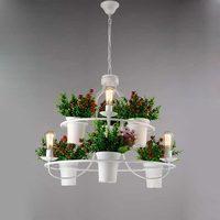 Flower Grass Candle Bulb Lamp Modern Ceiling Chandelier Living Room Bed Home Decor Lighting White Black Wrought Iron Ring Light