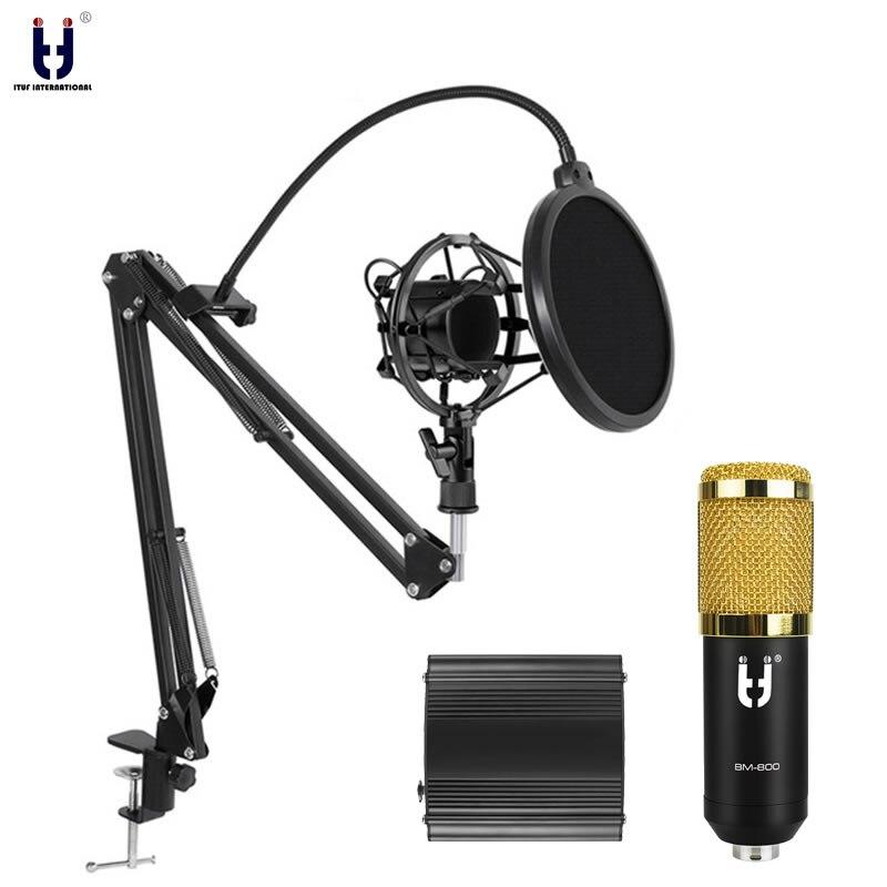 Ituf BM-800 Professional Studio Condensador Microfone & FM-35 Ajustável Suspensão Braço Do Suporte de Gravação Mic com Choque Monte KIT BM 800