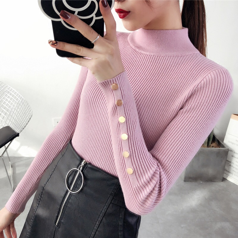 Half High Neck Woman Sweater Long Sleeve Slim Womens Pullover Korean Bottoming Shirt Short Thick Sweaters Fall Winter Turtleneck