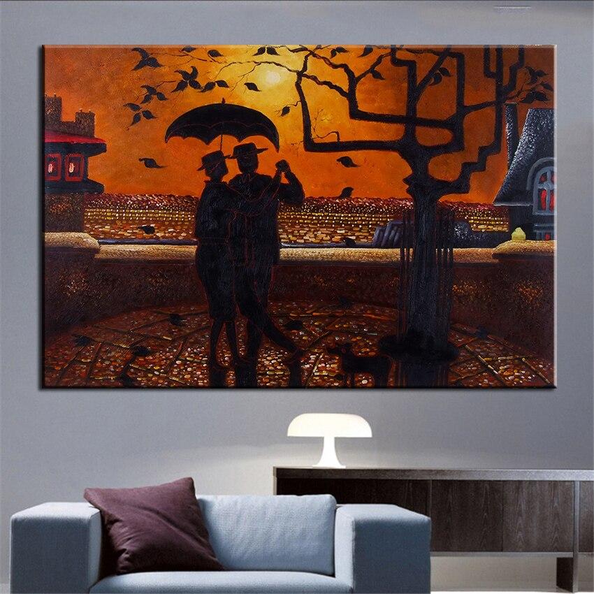 ᗕSin marco impreso gente con la ciudad abstracta Pintura sobre tela ...