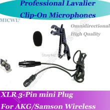 MICWL xlr mini 3Pin Microfone Lavalier para Lapel Microphone for AKG Samson Gemini Wireless A6T-3P micwl me2 pro microfone lavalier para lapel microphone for akg samson gemini wireless xlr mini 3 pin