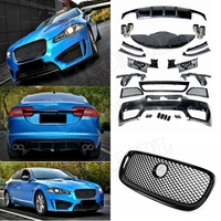 PP Black Body Kits Front Bumper Grills Rear Bumper Diffuser With Exhaust Tips for Jaguar XF Sedan 4 Door to R Style 2011 2015