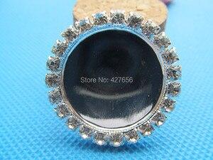 Image 3 - Nuevo 100 unids/lote de diamantes de imitación blancos de cobre colgante de encanto, Base de ajuste de bandeja de bisel, ajuste 25mm cabujón imagen camafeo