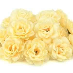 Image 4 - 100Pcs 7 ซม.Roseดอกไม้ประดิษฐ์Roseดอกไม้สำหรับงานแต่งงานตกแต่งDIYพวงหรีดอุปกรณ์เสริมหัตถกรรมปลอมดอกไม้