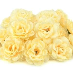 Image 4 - Cabezas de pared de flores rosas de seda Artificial, rosa de 7cm, decoración para el hogar, boda, bricolaje, accesorios de corona, artesanía, flor falsa, 100 Uds.