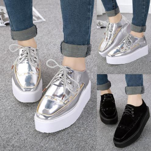 3b4dfec4d4 Womens Lace Up Metallic Shoes Creepers Thick Sole Oxfords Comfort Seam  Stitched Flats Faux Leather Classic Shoes