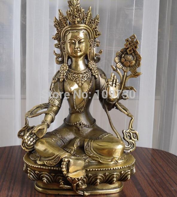 001247 Tibetan Buddhist Bronze The Wish-Fulfilling Tara Buddha Statue 21 Cm Tall
