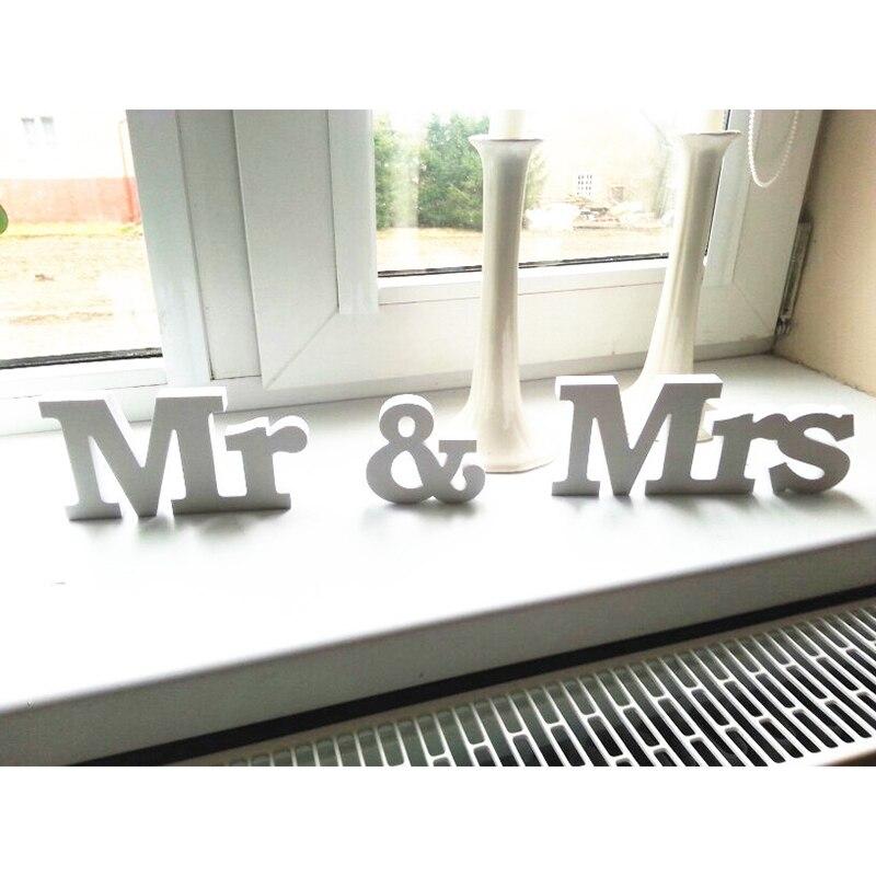 3 шт./лот, деревянные белые буквы свадьбы и Обручение вечерние украшения, одноцветное Цвет Mr & Mrs Mariage знак для милая Таблица Декор