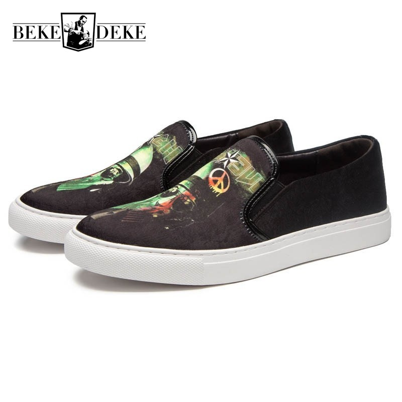 New Personality Printed Mens Casual Shoes Faux Suede Slip On Loafers Breathable Flats Harajuku Street Footwear Sapato Masculino 2017 new lightweight breathable suede mens casual shoes adult keep warm with fur