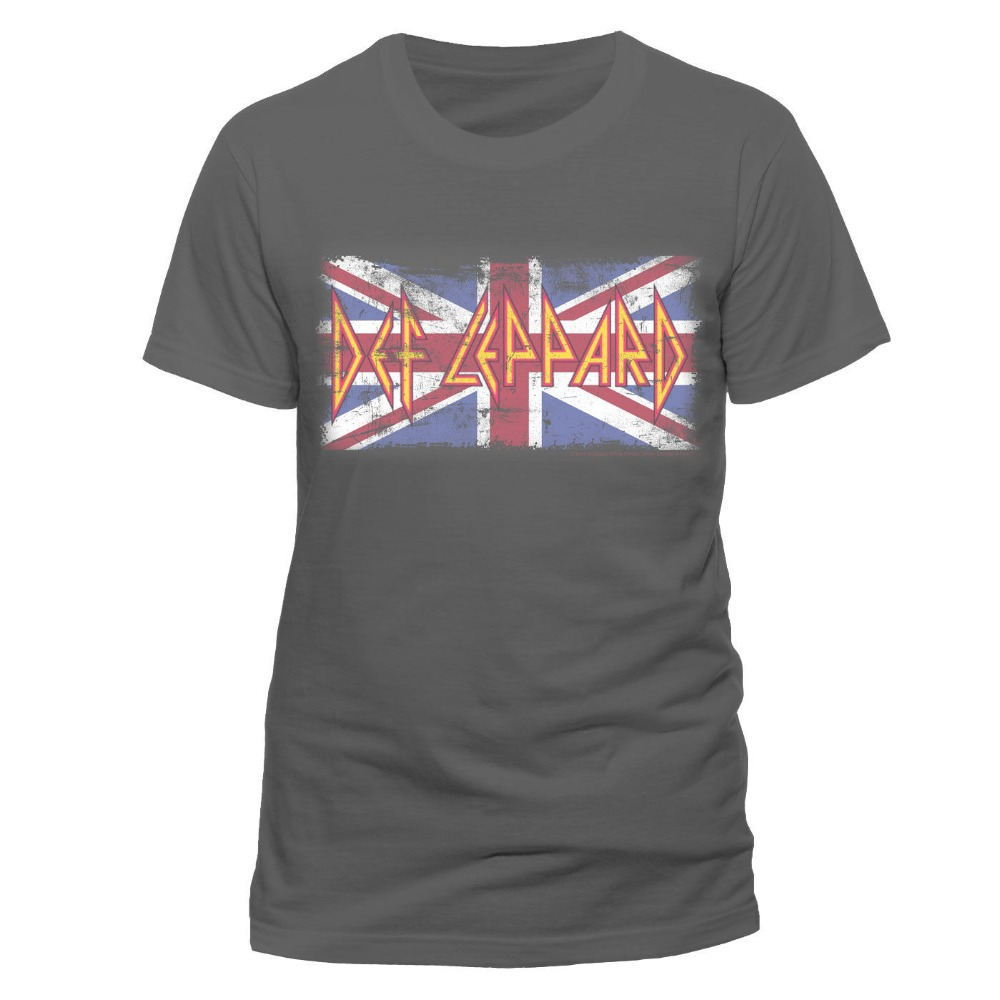New arrival def leppard vintage union jack short sleeve for Custom printed dress shirts