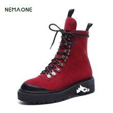 Nemaone 2017 новые зимние ботинки толстые теплые ботинки классические челси ботильоны натуральная кожа женские сапоги на платформе и высоком каблуке