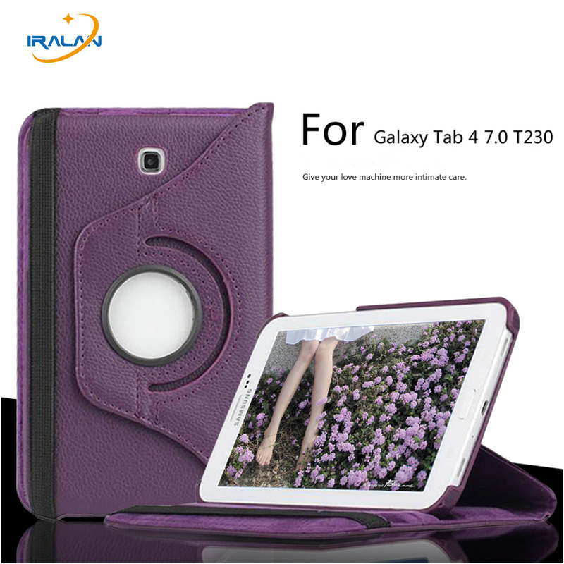 New wholesale case For Samsung Galaxy Tab 4 7.0 T230 T235 SM-T237P 360 Degree Rotating PU Leather Stand Shock Proof Tablet Cover cxd3846 4 new tab cof ic module