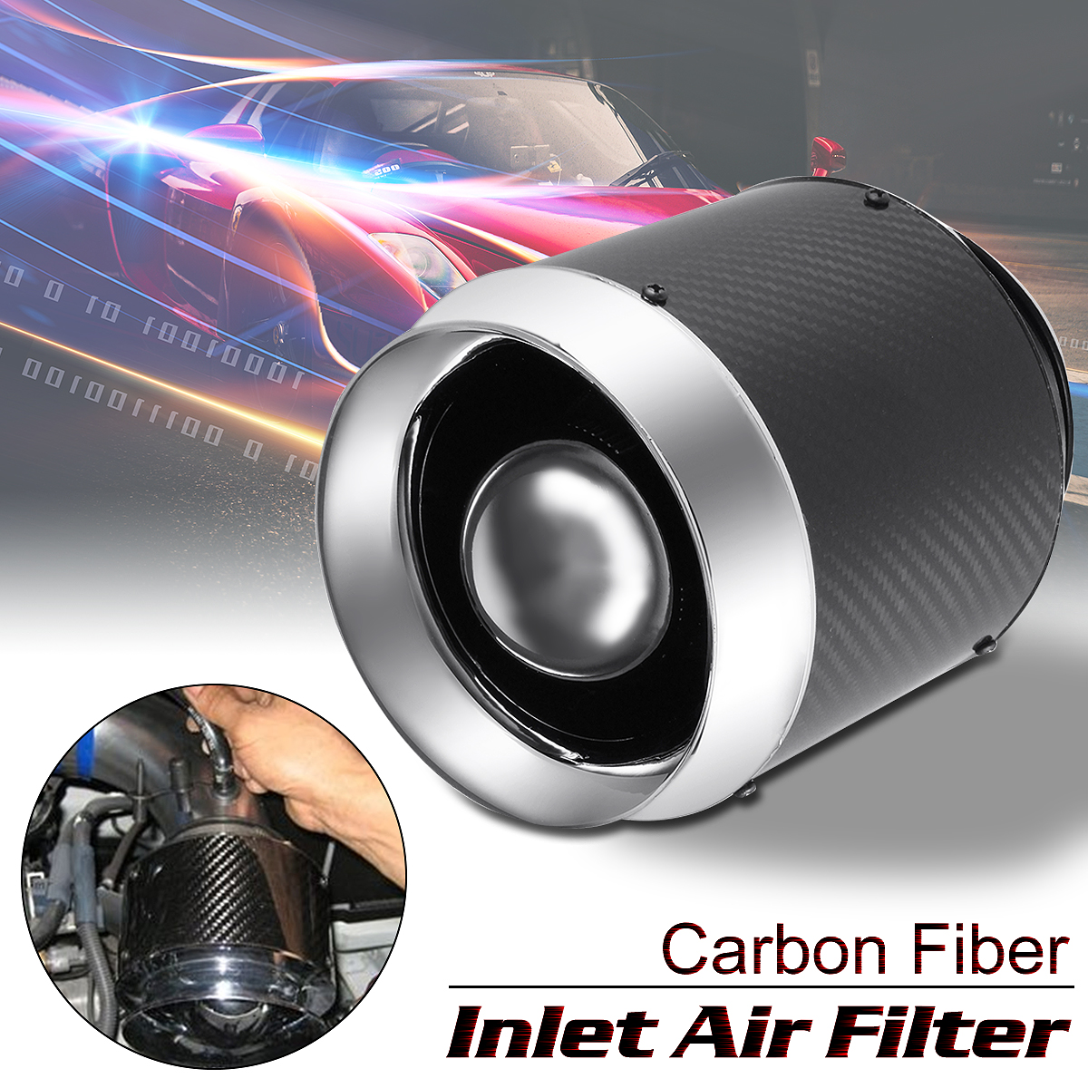 Универсальный прием воздушный фильтр Авто Реальные углеродного волокна Привет потока воздуха фильтр для холодного воздуха/Short Ram впускной ...