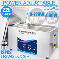 22L Ultrasonic Cleaner Power Adjustment 720W Digital Heater Degas Car Metal Car Motor Parts Washer Remove Oil Rust Stains