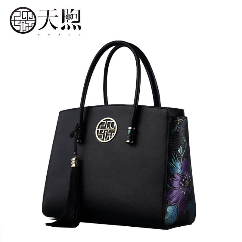 2019 New Pmsix women genuine leather bag Superior cowhide fashion Embossed women  bag Luxury women leather shoulder women s bag 554e2abf6462