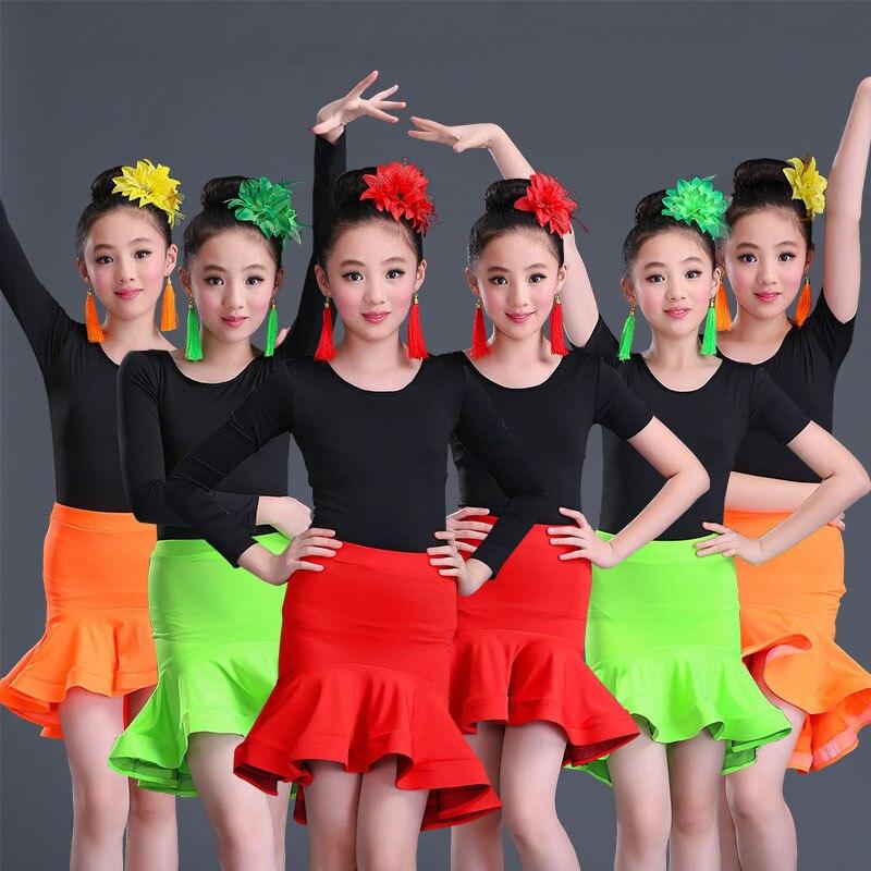 lace Kids Latin Dress Costumes children Long Sleeve Ballroom Dance spandex For Girl Salsa Rumba Cha Cha Samba Tango ruffle skirt